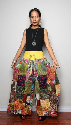 Boho Patchwork pants  - Long Womes Wide leg pants : Boho Patchwork Collection on Etsy