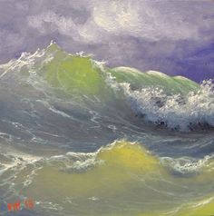 "Frisky Waves, 6""x 6"" original oil painting"