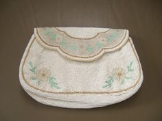 Vintage hand made white pale green and gold by KimCycleDesigns