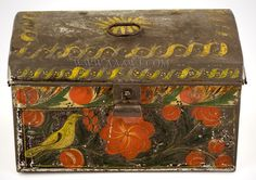 oleware Box, Painted Tin Trunk, Paddle Tail Bird Attributed to the North Family Fly Creek, New York