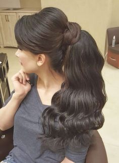 Beautiful ponytail...MKS Ponytail Hairstyles, Ladies Hairstyles, Hair Ponytail, Long Dark Hair, Velvet Hair, Silky Hair, Braids For Long Hair, Hair Jewelry, Your Hair