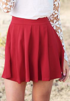 Red Pleated - Skirt