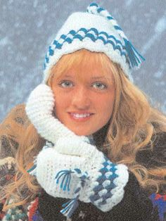 Scalloped Hat and Mittens- Stay toasty-warm this winter with these cute, easy to make, accessories! Designed by Isabelle Wolters  free pdf