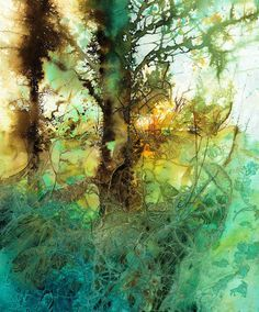 Sunglow in the greenwood tree-ann blockley watercolor trees, watercolor artists, watercolour painting Watercolor Trees, Watercolor Artists, Watercolor Landscape, Abstract Watercolor, Abstract Landscape, Landscape Paintings, Watercolor Paintings, Watercolors, Abstract Tree Painting