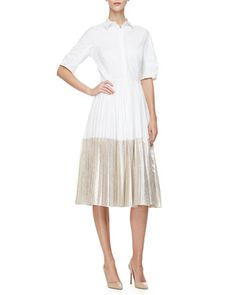 Half-Sleeve Two-Tone Midi Shirtdress, Champagne by Lela Rose at Neiman Marcus.