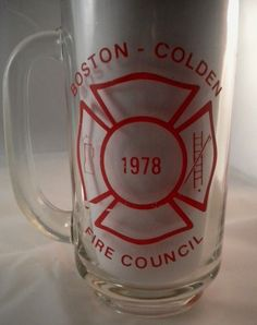 Vintage BOSTON-COLDEN FIRE COUNCIL Department Beer Glass Mug Stein Tankard 1978