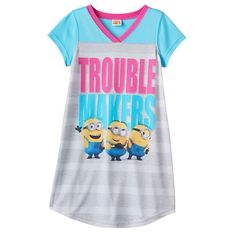 """Girls 6-12 Despicable Me 3 Minions """"Trouble Makers"""" Dorm Nightgown, Pink"""