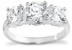 Sterling Silver 3-Stone Cubic Zirconia Ring --- http://www.pinterest.com.luvit.in/at
