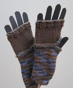 blue brown fingerless gloves
