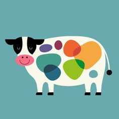 Awesome Cow Art Print by Andy Westface - X-Small Art And Illustration, Illustration Mignonne, Frida Art, Cow Art, Baby Art, Art Mural, Nursery Art, Easy Drawings, Art For Kids