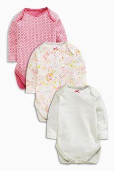 Kaufen Sie Three Pack Ecru Flower Long Sleeve Bodysuits (0 Monate – 2 Jahre) heute online bei Next: Deutschland