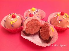 Mini Cupcake Cake Balls. These are Raspberry and chocolate flavored.