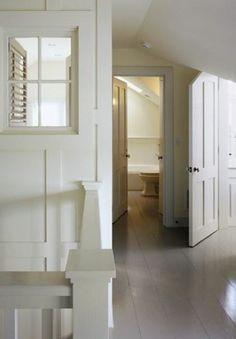 The Millwork: Simple,Gorgeous White Hallway Attic Renovation, Attic Remodel, Detail Architecture, Interior Architecture, White Hallway, White Walls, Interior Windows, Interior Walls, Painted Floors