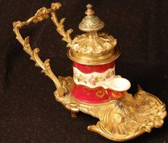 Napoleon III French Porcelain/Bronze Doré Encrier/Inkwell