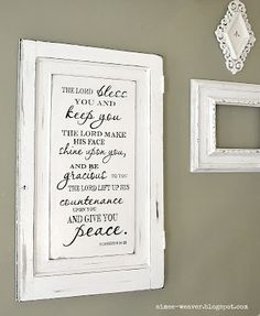 2 Crafty 4 My Skirt: Round Up ~ Repurposed Old Cabinet Doors; I love this blog - so many wonderful ideas on repurposing old cabinet doors - this one with a verse......