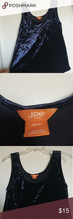 Blue Velvet Vintage-style tank Joe fresh blue velvet vintage-style tank blouse. Great condition and very comfortable! Joe Fresh Tops Tank Tops