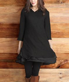 Look at this Black Ribbed Knit Hooded Ruffle-Hem Tunic on #zulily today!