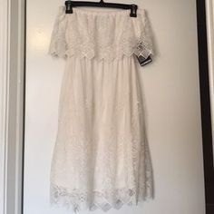 I just discovered this while shopping on Poshmark: Express White Lace Strapless Dress with Open Back. Check it out! Price: $30 Size: M