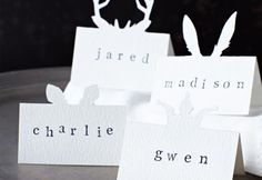 Pop up ears on a place card
