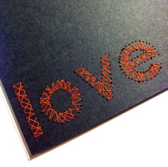 hand-stitched card: love, via Etsy.