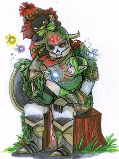 The Legend of Zelda - Link/Hero's Shade - Saria - Skull Kid - By LittleMissArtie on DeviantArt