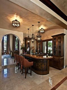 Classy Luxurious House for Your Home Inspiration: Fancy Family Room Traditional Home Bar Nellie Gail