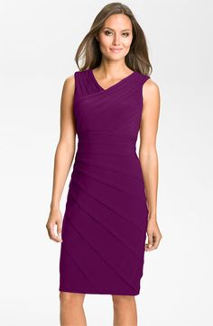 May be too high of a neckline.  Adrianna Papell V-Neck Shutter Pleat Sheath Dress available at #Nordstrom $158