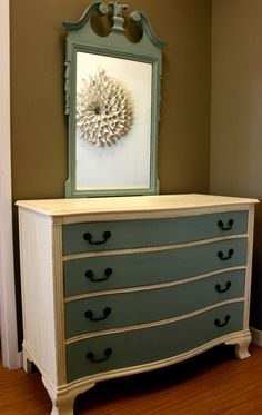 Dresser redo. Love the idea of the mirror being a different color