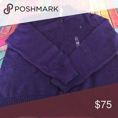 NWT Polo 1/2 Button up Purple Sweater XL NWT Polo by Ralph Lauren 1/2 Button Up Purple Sweater with Green Pony. Never worn! XL Polo by Ralph Lauren Sweaters