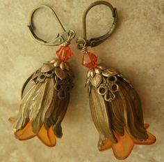 Tulip Earrings Vintaj Brass by Xpressions on Etsy