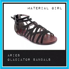 ⚪️⏰ BOGO 1/2 OFF Material Girl Gladiator Sandals  BOGO 1/2 OFF see Sale Post in my closet for more details  Adorable black gladiator sandals with a touch of bling...zip up back closures Brand: Material Girl Material: upper - canvas; bottom sole - manmade Size: 6 Condition: brand new in box Material Girl Shoes Sandals