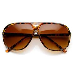 245de270d1ff4 zeroUV Large Retro Stunner Plastic Aviator Sunglasses w Mustang Horse Logo  Tortoise    More info