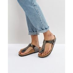 Birkenstock Gizeh Metallic Anthracite Leather Flat Sandals ($119) ❤ liked on Polyvore featuring shoes and sandals