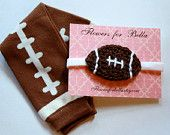 Crochet Baby girl Football Headband and Football Leg Warmers