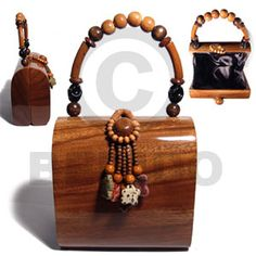 Collectible Handcarved Laminated Acacia Wood Handbag / Charlene Natural 6 / Handle Ht: 5 In. Wooden Purse, Brown Decor, Clutches For Women, Wood Resin, Wooden Gifts, Vintage Purses, Summer Bags, Acacia Wood, Black Satin