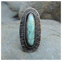 Gran anillo turquesa americana tamaño 6.5 por PureDichotomy en Etsy, $175.00