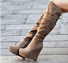 Light brown lace-up wedge boots