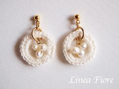 crochet pearl earrings