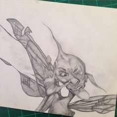 Found this while #cleaning out my #study. #tb #throwback #faerie #fairy #splat #2004 #lineshading #art #artist #pencil #clutch #insta_art #artstagram #artfido. Posted this seeing as I have not had the drive to draw in months.
