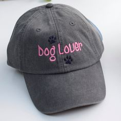 Dog Lover Baseball Cap || Embroidered Paw Print Rescue Dogs Rock Hat || Dog Mom Monogram Gift by Three Spoiled Dogs Made in USA by ThreeSpoiledDogs on Etsy