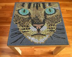 Mosaic Cat Table by BlueCatMosaic on Etsy
