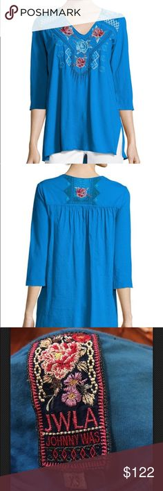 ade1f387223 JLW Johnny Was Embroidered Yoke Tunic blue XS Jwla for johnny was  jersey-knit tunic