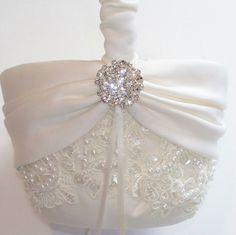 Wedding Flower Girl Basket with Beaded Alencon Lace by JLWeddings