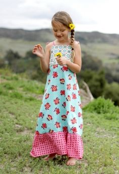 Halley Maxi Dress, girl's PDF sewing pattern, easy pattern, child sewing pattern, sundress, toddler dress, infant dress, beginner sewing pattern