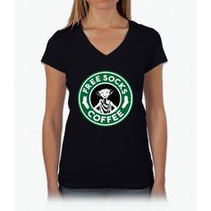 Free Socks Coffee Harry Potter Womens V-Neck T-Shirt