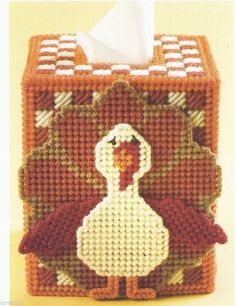 **GOBBLER TISSUE BOX COVER - PATTERN ONLY-PLASTIC CANVAS PATTERN**