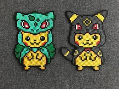 Pikachu Bulbasaur and Pikachu Umbreon Perler Bead Designs, Perler Bead Templates, Hama Beads Design, Pearler Bead Patterns, Perler Patterns, Quilt Patterns, Hama Beads Pokemon, Diy Perler Beads, Perler Bead Art