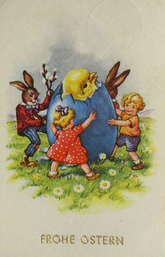 """""""Ostern, Osterhase, Osterei, Küken, Kinder"""" 1952 ♥ (14281)   eBay"""