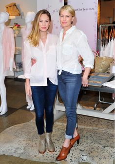 Robin Wright and Dylan Penn in white button downs and skinny jeans.