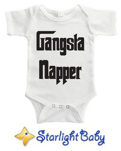 Gangsta Napper funny baby bodysuit by Starlight Baby  https://shop.starlight-baby.com/collections/funny-bodysuits/products/gangsta-napper-bodysuit